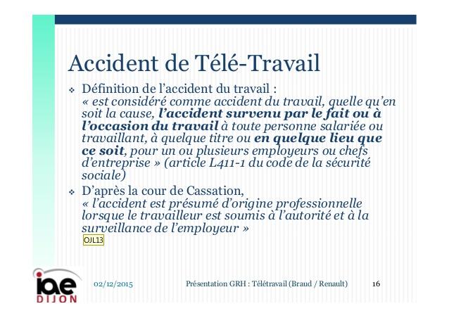 teletravail et accident du travail