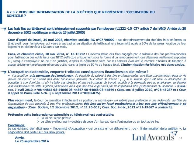 teletravail indemnisation
