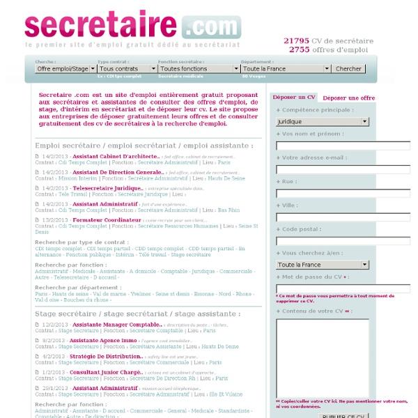 teletravail offre emploi secretaire