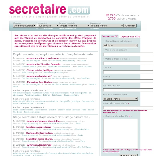 teletravail offre emploi secretariat
