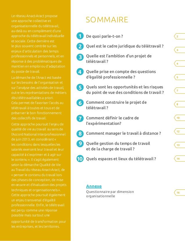 teletravail questionnaire