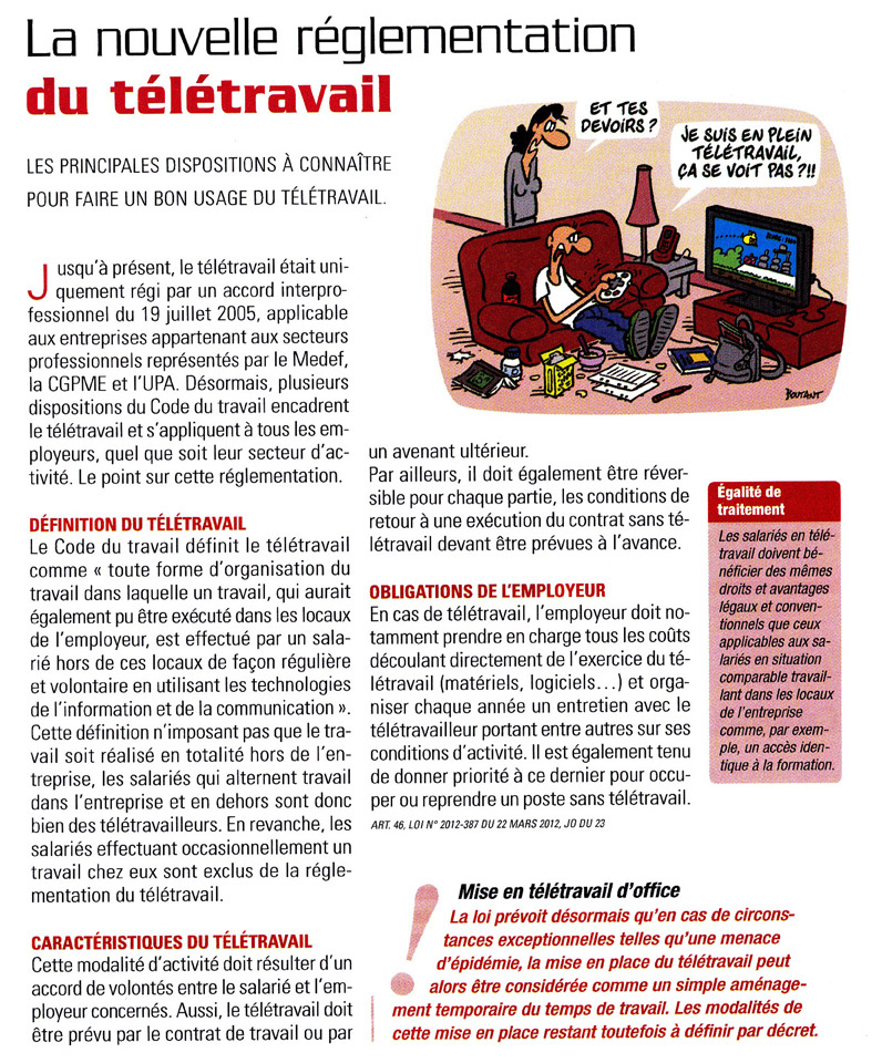 teletravail reglementation
